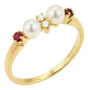 Mikimoto Mikimoto Akoya Pearls Diamond & Ruby 18k Yellow Gold Ring