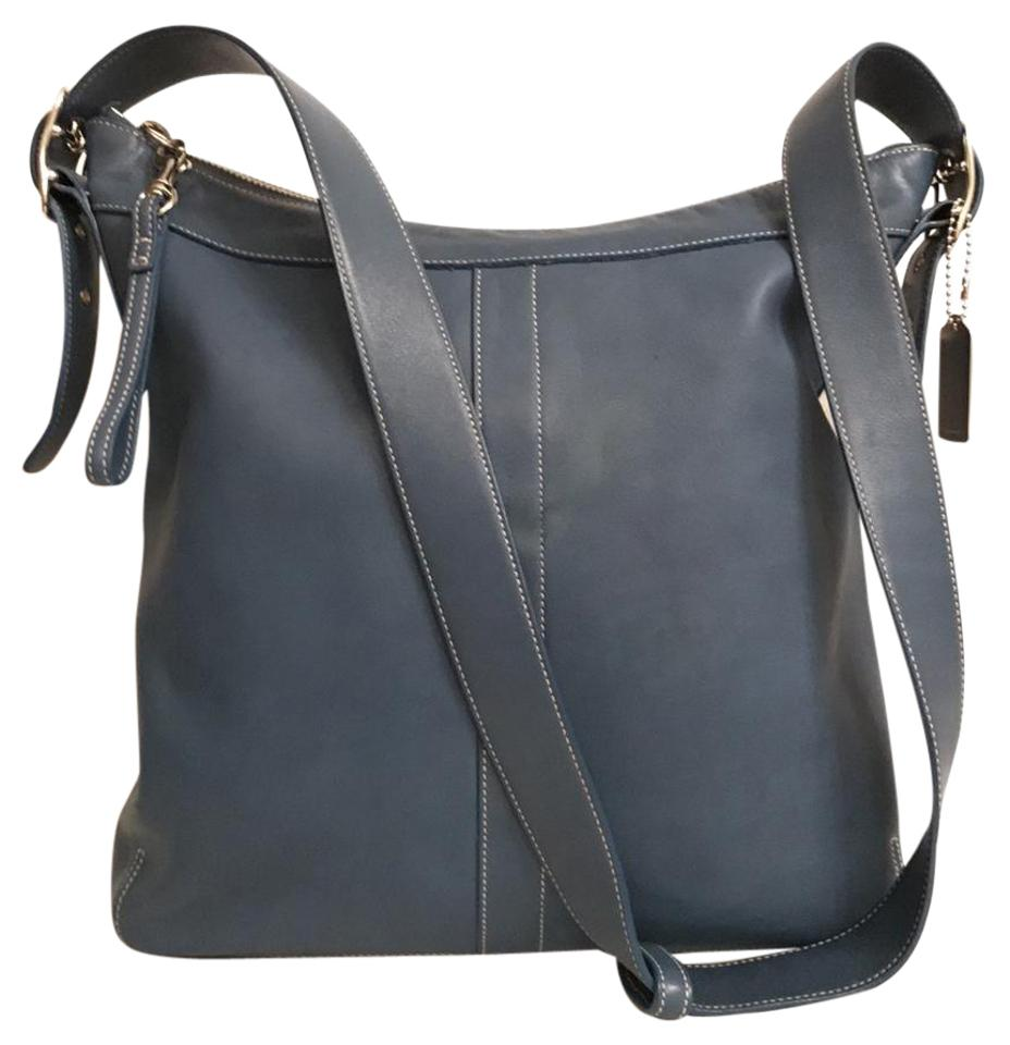 f7ec018174 Coach Gallery Large 9188 Duffle Convertible Shoulder Blue Silver Leather  Cross Body Bag
