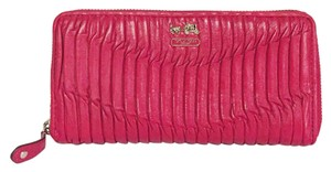Coach pleated coach zip around long wallet in hot pink red leather