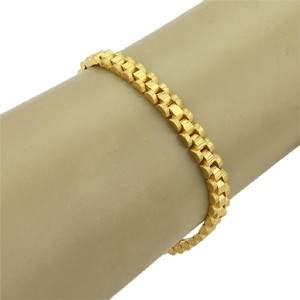 Modern Vintage #17798 Textured Solid 22k Gold Three Rows Curved Bar Link Bracelet