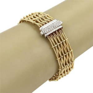 Marco Bicego Marco Bicego Diamond 18k Two Tone Woven Design 17mm Wide Bracelet