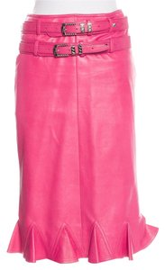 Dior Leather Embellished Silver Hardware Diorissimo Belted Skirt Pink, Silver