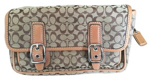 Coach Leather Canvas Silver Hardware Satchel in Tan