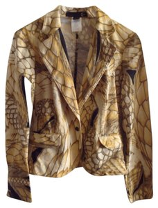 Just Cavalli Patterned Fitted gold Blazer