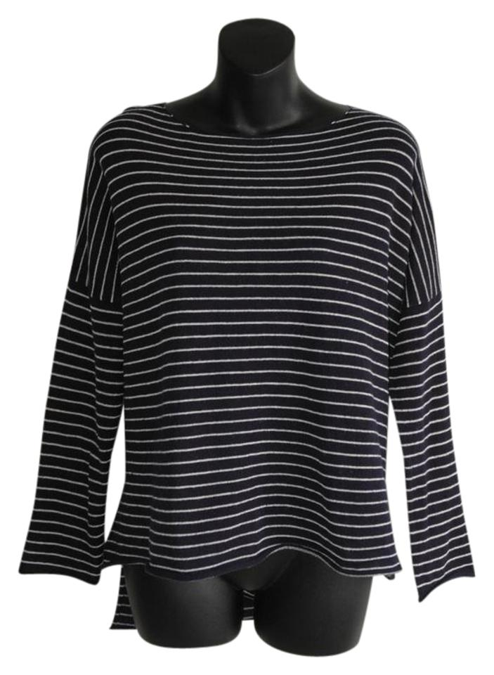 163f0f1a Zara Loose Fit Light Knit Navy White Blue Sweater - Tradesy