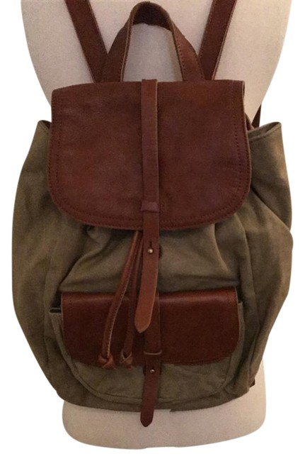 Item - The Transport Rucksack In Waxed Canvas Green Brown Leather Backpack
