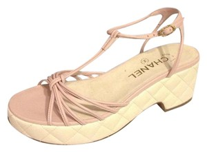 Chanel Wedge Quilted T Strap Light Pink/Cream Platforms