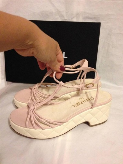 Chanel Wedge Quilted T Strap Light Pink/Cream Platforms Image 1