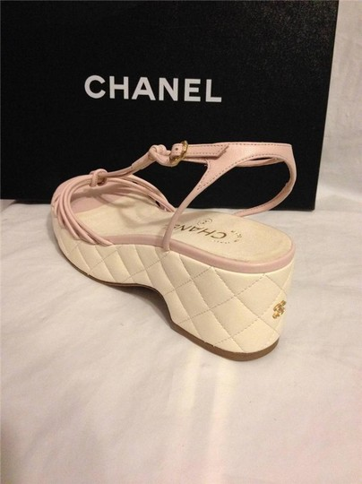 Chanel Wedge Quilted T Strap Light Pink/Cream Platforms Image 10