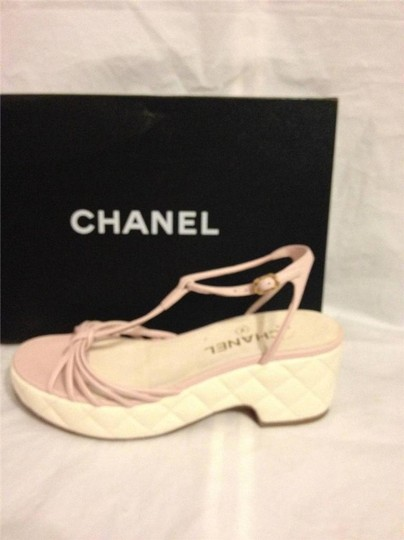 Chanel Wedge Quilted T Strap Light Pink/Cream Platforms Image 11