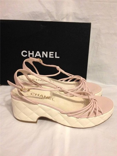 Chanel Wedge Quilted T Strap Light Pink/Cream Platforms Image 2