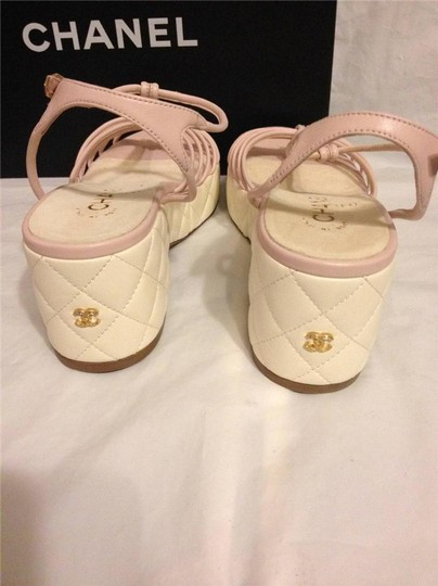Chanel Wedge Quilted T Strap Light Pink/Cream Platforms Image 3