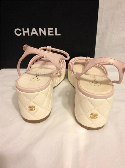 Chanel Wedge Quilted T Strap Light Pink/Cream Platforms Image 4