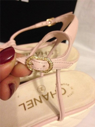 Chanel Wedge Quilted T Strap Light Pink/Cream Platforms Image 5