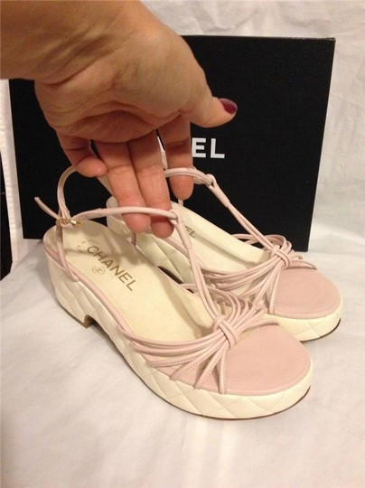 Chanel Wedge Quilted T Strap Light Pink/Cream Platforms Image 7