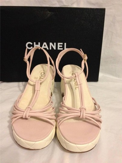 Chanel Wedge Quilted T Strap Light Pink/Cream Platforms Image 8