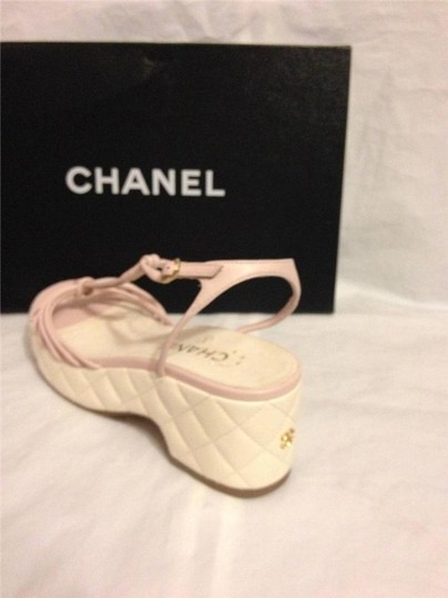 Chanel Wedge Quilted T Strap Light Pink/Cream Platforms Image 9
