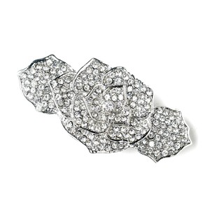 Elegance By Carbonneau Rhinestone Covered Flower Hair Barrette In Antique Silver 70963