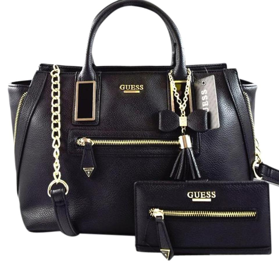 Guess Crossbody Aydriana Satchel Wallet Set Black Faux Leather