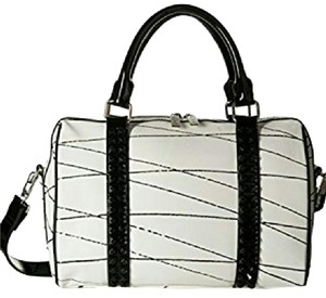 L.A.M.B. Black And White Studded Leather Satchel in white/black