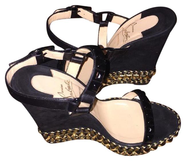 Item - Black with Gold Studds Cataclou Wedges Size US 8 Narrow (Aa, N)