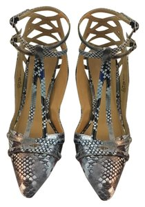 JustFab Python Silver Blue Sexy Gray Pumps