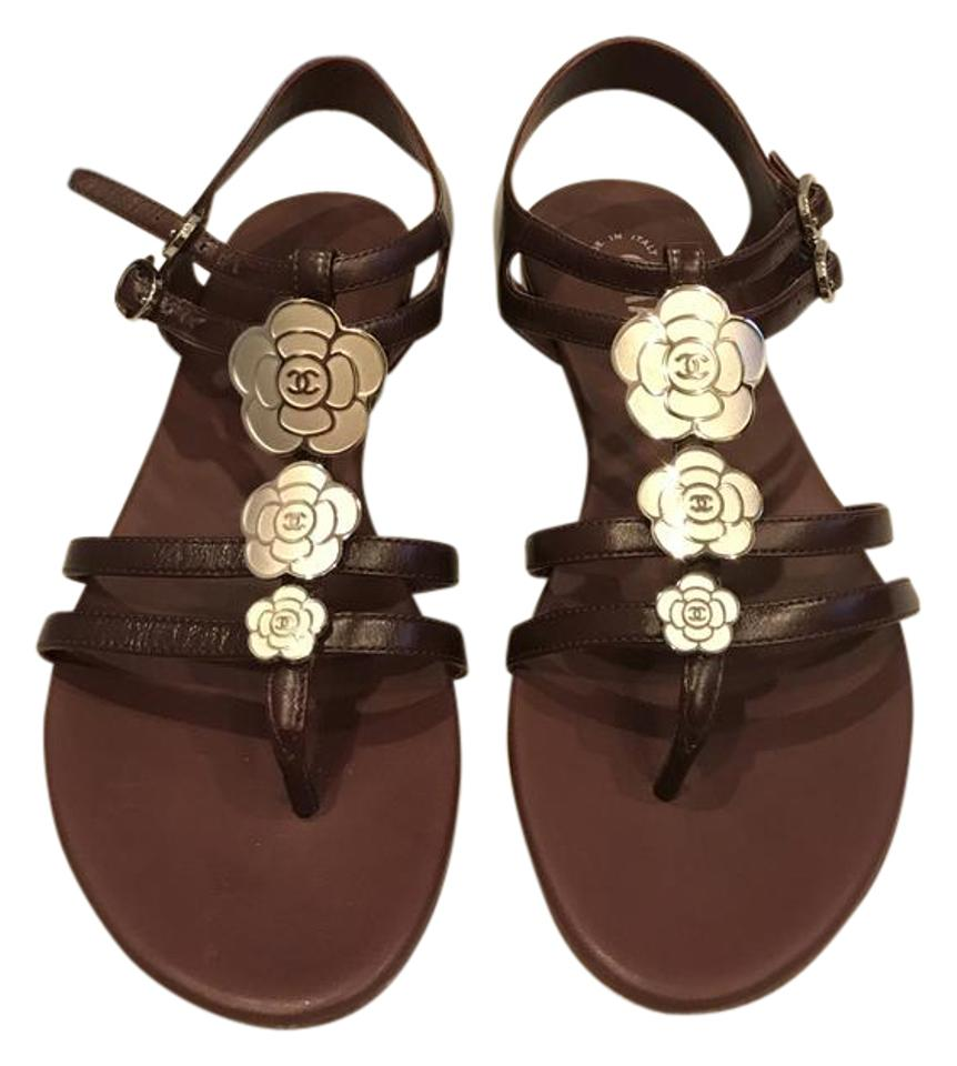 bb159383be62fb Chanel Burgundy 16p Leather Ankle T Strap Camellia Flower Thong Flat Sandals.  Size  EU 35 (Approx. US 5) Regular ...