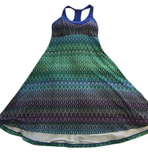 prAna short dress Green, blue, purple mosaic Hi Lo Built In Shelf Bra on Tradesy