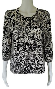 Ann Taylor Floral Cotton Sweater 3/4 Sleeves Cardigan