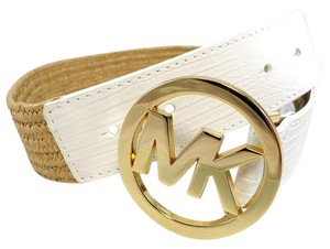 Michael Kors POLY STRETCH STRAW WHITE LEATHER LIZARD LOGO BELT S / XS