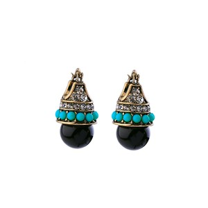 Other Black Turquoise Pave Drop Earrings