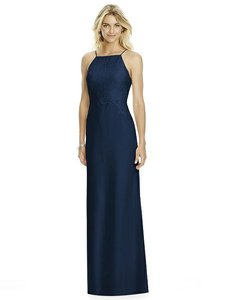 After Six Midnight Navy Marquis Lace and Matte Chiffon 6764 Bridesmaid/Mob Dress Size 10 (M)