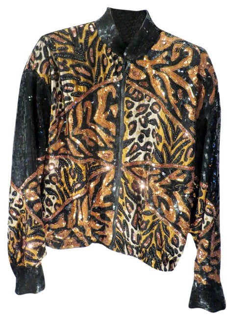 Item - Black / Brown/ Bronze / Taupe Leopard Sequined Printed / Bomber By Jacket Size 8 (M)