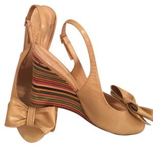 Kate Spade tan and multicolor Wedges