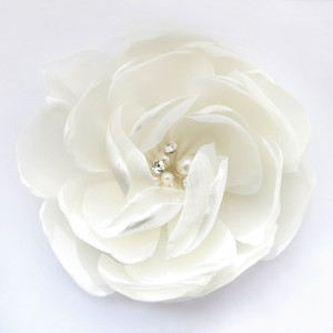 Elegance By Carbonneau Ivory Satin & Organza Flower With Pearl & Rhinestone Center Clip 104