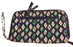 Vera Bradley Wristlet in navy blue with green, light blue and white diamonds