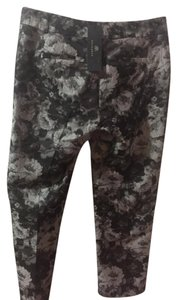 Banana Republic Floral Fitted Ankle Straight Pants grey, black, white rose