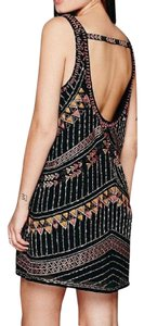 Free People short dress Black Embellished Boho Arrows Tribal Mini Cutout on Tradesy