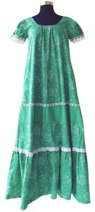 Green Maxi Dress by Hilda Hawaii Vintage Hippie Coachella