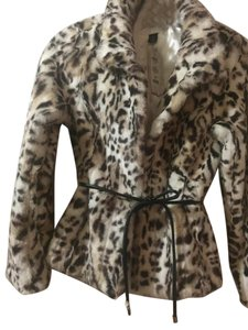 White House | Black Market Faux Fur Fitted Belted Fur Coat