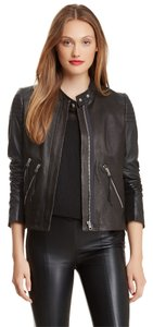 Rebecca Taylor Quilted Leather Theory Black Slate Leather Jacket