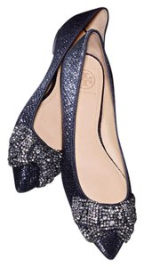 Tory Burch Metallic Leather Crystal Navy Flats