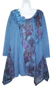 Pretty Angel Asymmetric Knit Floral Rosette Tunic