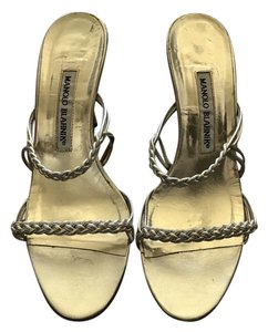Manolo Blahnik Strappy Braided Vintage Gold Sandals