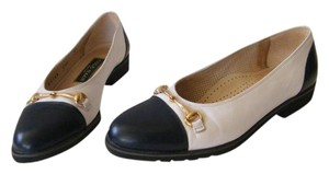 Cole Haan Leather Cushioned Sole Gold Tone Buckle White/Navy Flats