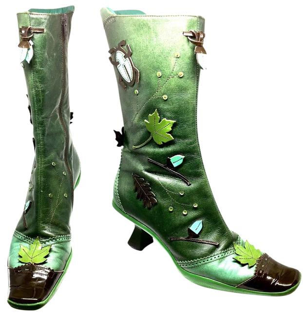 Item - Forest Green Rare Leather and Patent Applique Boots/Booties Size US 8 Narrow (Aa, N)