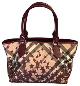 Burberry Tote in burgundy & plaid
