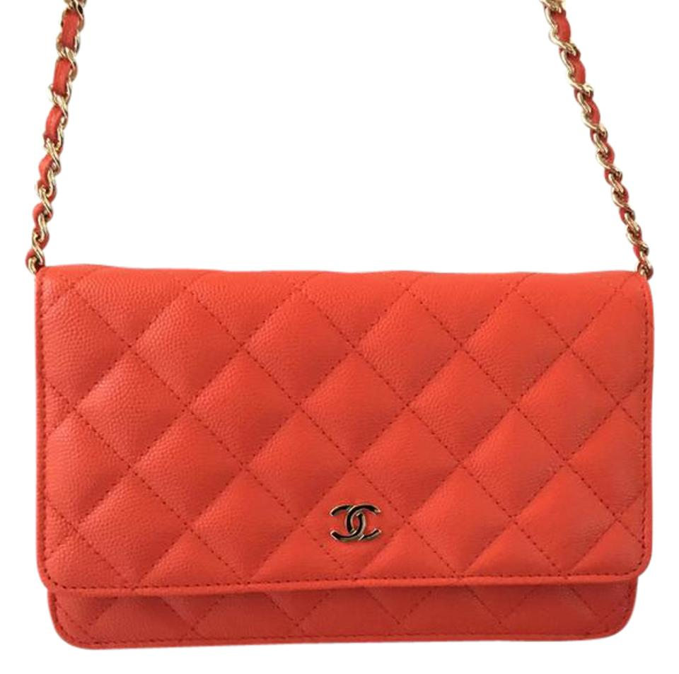 6395d50b Chanel Wallet on Chain Quilted Woc Gold Hardware Red (Coral with Orange  Hues) Caviar Leather Cross Body Bag