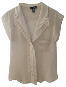 Aqua Ruffle Sheer Work Button Down Shirt Tan
