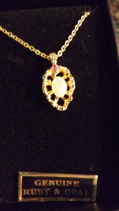 Van Doran Van Doren Genuine Ruby and Opal Pendant Necklace